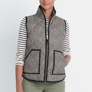 J. Crew Factory Jackets & Coats - J. Crew Black Herringbone Zip Up Vest Sz Medium
